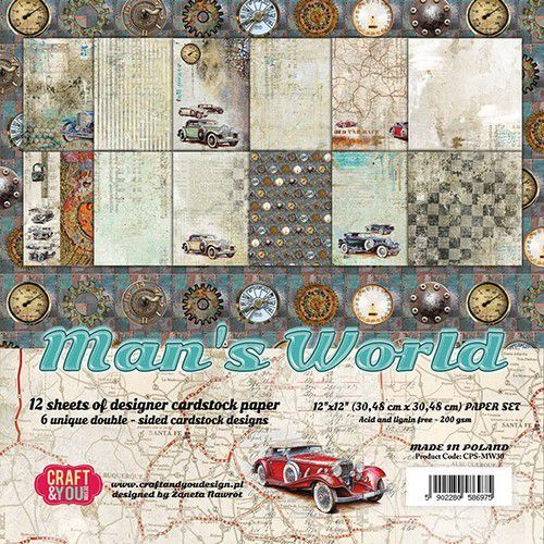 Craft&You Man's World Big Paper Set 12x12 12 vel CPS-MAN30 (02-20)