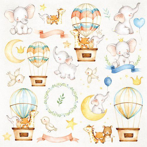 Craft&You Baby Adventure Sheet of elements to be cut out 12X12 CP-BA07 (02-20)
