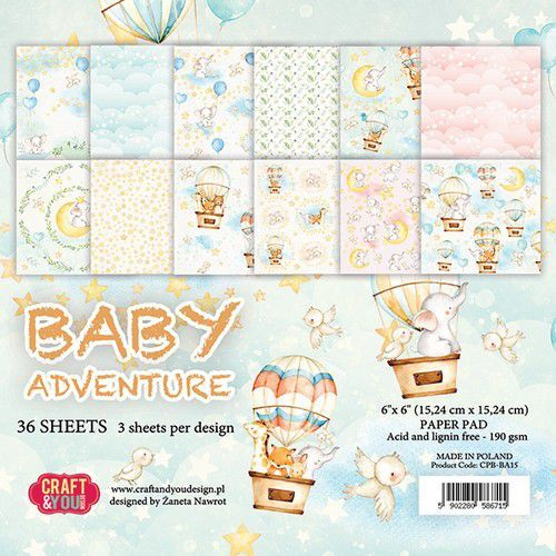Craft&You Baby Adventure Small Paper Pad 6x6 36 vel CPB-BA15 (02-20)