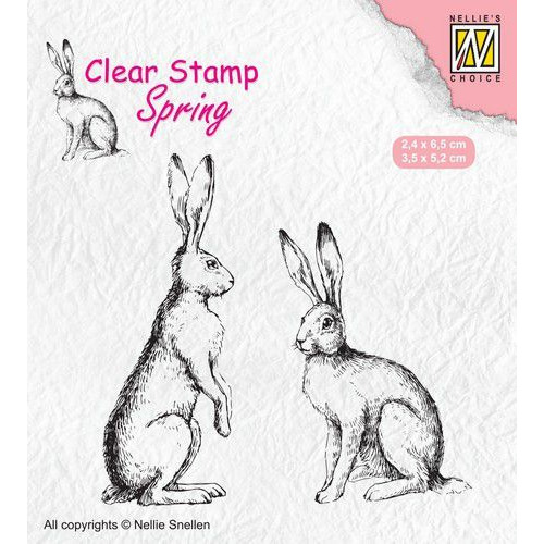 Nellies Choice Clearstempel - lente, twee hazen SPCS014 24x65 - 35x52mm (02-20)