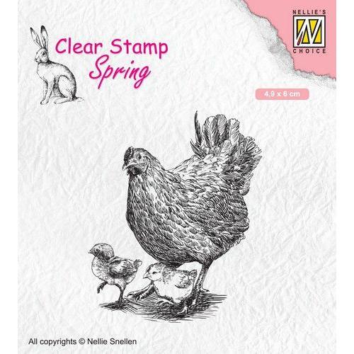 Nellies Choice Clearstempel - lente, moederkip met kuikens SPCS015 49x60mm (02-20)