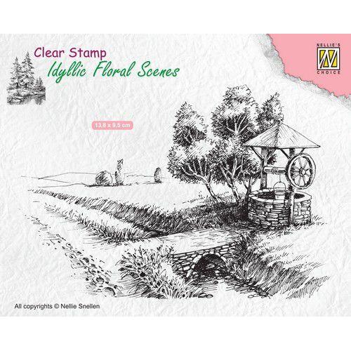 Nellies Choice clearstamp - Idyllic Floral Scenes waterput IFS021 136x95mm (02-20)