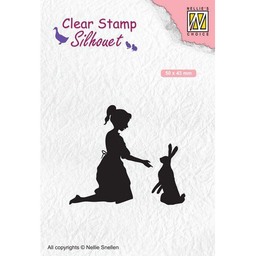 Nellies Choice Clearstempel - Silhouette meisje met haas SIL061 50x43mm (02-20)