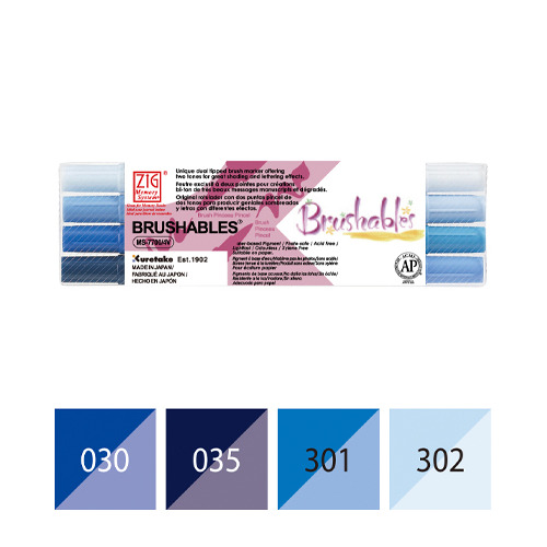 Zig Brushables Blue 4 colors set