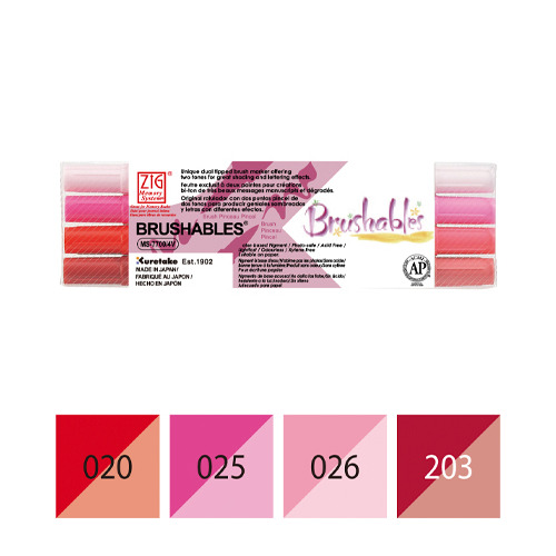 Zig Brushables Red 4 colors set