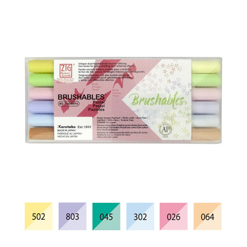 Zig Brushables Pastel 6 colors set