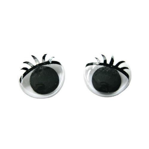 Moving eyes with eyelashes, 15mm