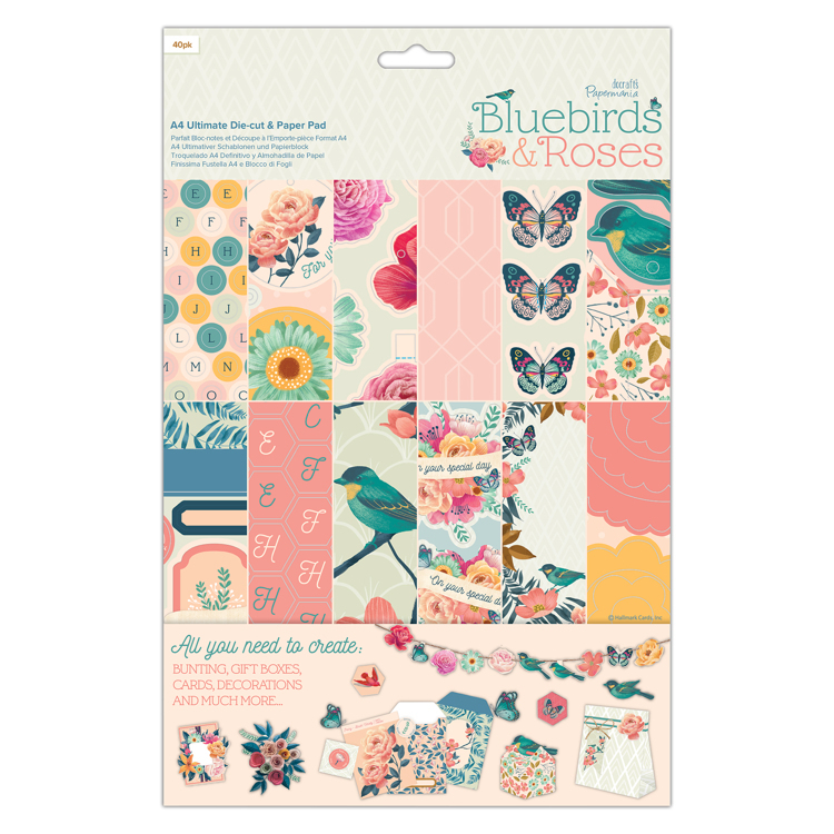 A4 Ultimate Die-cut & Paper Pad - Bluebirds & Roses