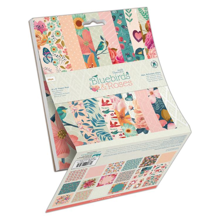 "6 x 6"" Paper Pad (36pk) - Bluebirds & Roses"