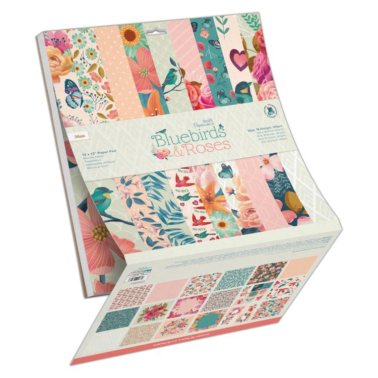 "12 x 12"" Paper Pad (36pk) - Bluebirds & Roses"