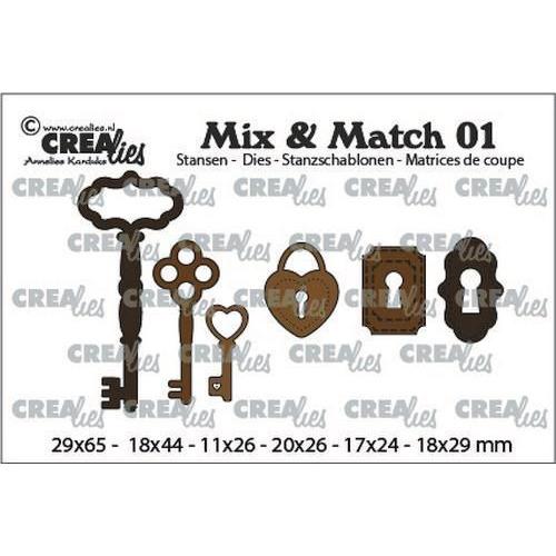 Crealies Mix & Match 3x sleutels+ 2x slot+ 1x hangslot CLMix01 29x65 - 11x26mm (03-20)