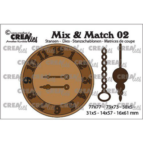 Crealies Mix & Match klok met ketting en slinger CLMix02 31x5 - 77x77mm (03-20)