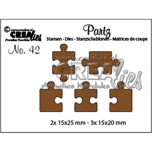 Crealies Partzz 5x puzzelstukjes CLPartzz42 2x 15x25mm - 3x 15x20mm (03-20)