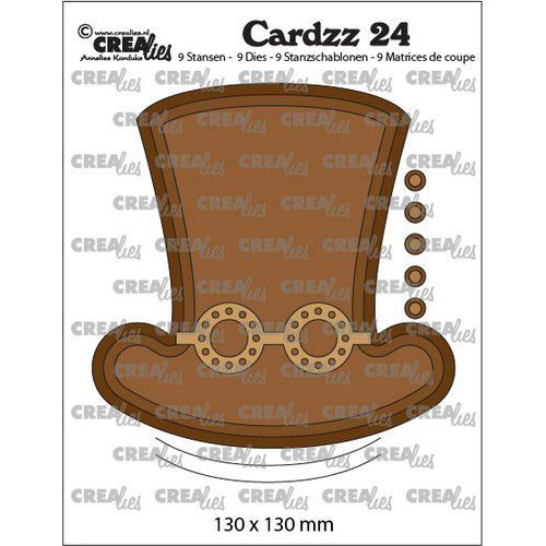 Crealies Cardzz no 24 Steampunk hoed +bril CLCZ24 130 x 130mm (03-20)