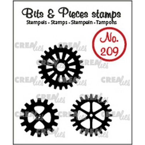 Crealies Clearstamp Bits & Pieces 3x tandwielen (dicht) CLBP209 3x max. 22x22mm (03-20)