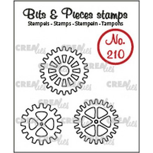 Crealies Clearstamp Bits & Pieces 3x tandwielen (omlijning) CLBP210 3x max. 22x22mm (03-20)
