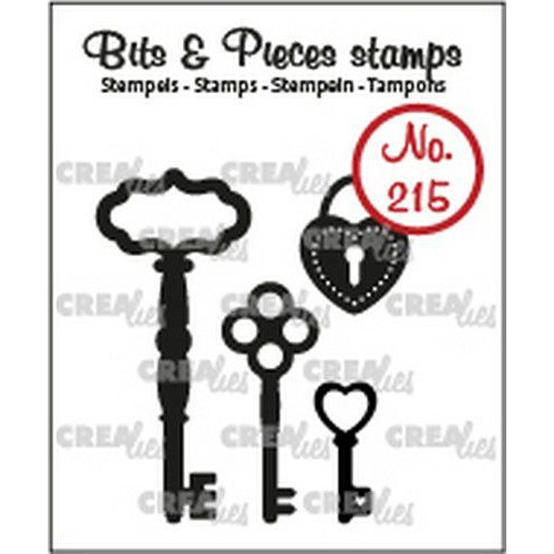 Crealies Clearstamp Bits & Pieces 3x sleutels+ hangslot CLBP215 4x max. 19 x 43mm (03-20)