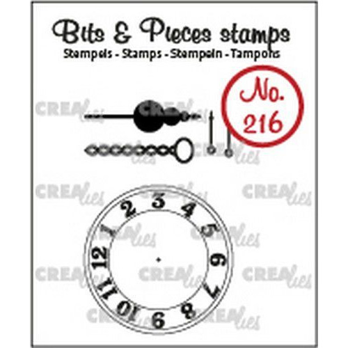 Crealies Clearstamp Bits & Pieces klok met ketting en slinger CLBP216 5x max. 45 x 45mm (03-20)