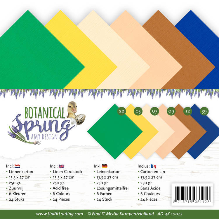Linen Cardstock Pack - 4K - Amy Design - Botanical Spring