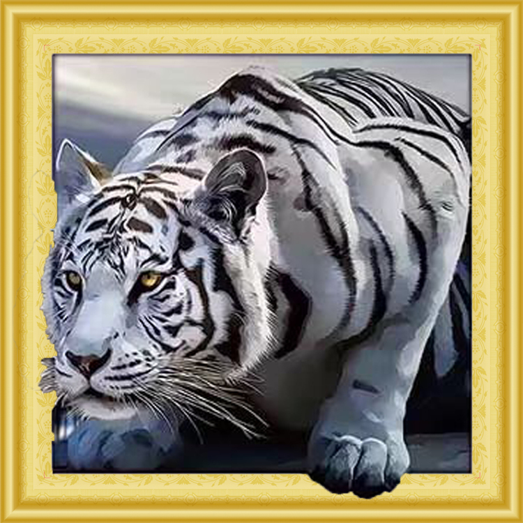 WD 035 diamond painting 3 D framed Tiger 40 x 50