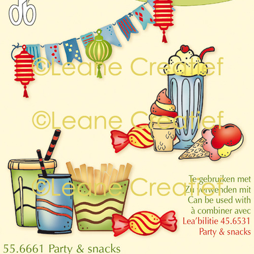 LeCreaDesign® combi clear stamp Party & Snacks