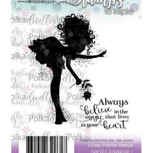 Polkadoodles stamp Graceful Flower Girl 1