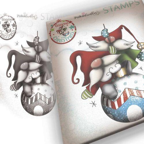 Polkadoodles stamp Gnome - Bauble fun