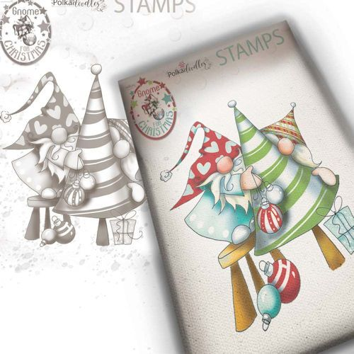 Polkadoodles stamp Gnome - Decorating the tree