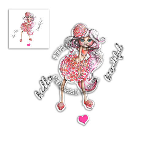 # Polkadoodles stamp Darling Bud - Dahlia