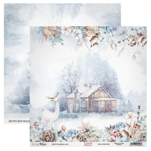 ScrapBoys Cotton Winter paper sheet DZ COWI-01 190gr 30,5cmx30,5cm (03-20)
