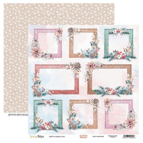 ScrapBoys Cotton Winter paper sheet DZ COWI-06 190gr 30,5cmx30,5cm (03-20)