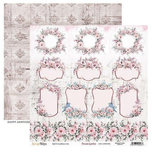 ScrapBoys Dream Garden paper sheet DZ DRGA-06 190gr 30,5cmx30,5cm (03-20)