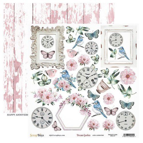 ScrapBoys Dream Garden paper cut out elements DZ DRGA-07 190gr 30,5cmx30,5cm (03-20)