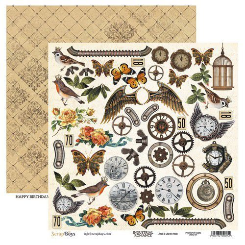 ScrapBoys Industrial Romance paper cut out elements DZ INRO-07 190gr 30,5cmx30,5cm (03-20)