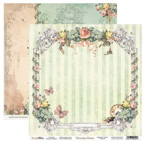 ScrapBoys Victorian Home paper sheet DZ VIHO-03 190gr 30,5cmx30,5cm (03-20)