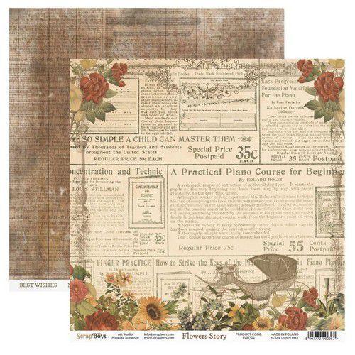 ScrapBoys Flowers Story paper sheet DZ FLST-01 190gr 30,5cmx30,5cm (03-20)