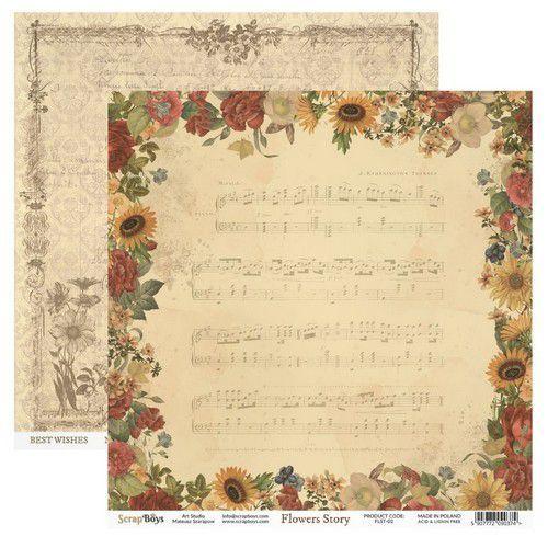 ScrapBoys Flowers Story paper sheet DZ FLST-02 190gr 30,5cmx30,5cm (03-20)