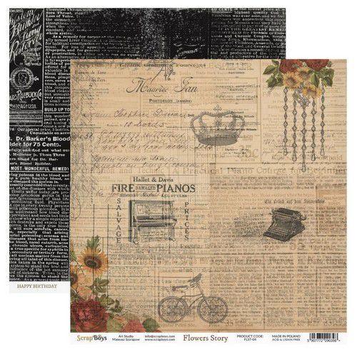 ScrapBoys Flowers Story paper sheet DZ FLST-04 190gr 30,5cmx30,5cm (03-20)