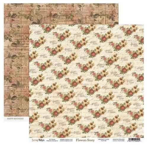 ScrapBoys Flowers Story paper sheet DZ FLST-05 190gr 30,5cmx30,5cm (03-20)