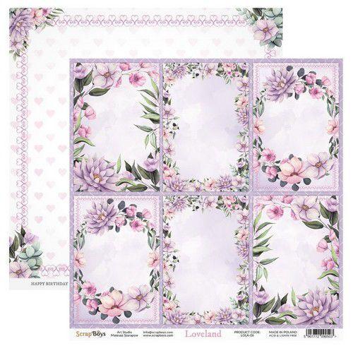 ScrapBoys Loveland paper sheet DZ LOLA-06 190gr 30,5cmx30,5cm (03-20)