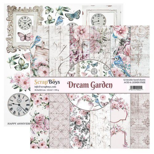 ScrapBoys Dream Garden paperset 12 vl+cut out elements-DZ DRGA-08 190gr 30,5cmx30,5cm (03-20)