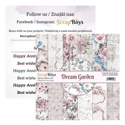 ScrapBoys Dream Garden paperpad 24 vl+cut out elements-DZ DRGA-09 190gr 15,2cmx15,2cm (03-20)