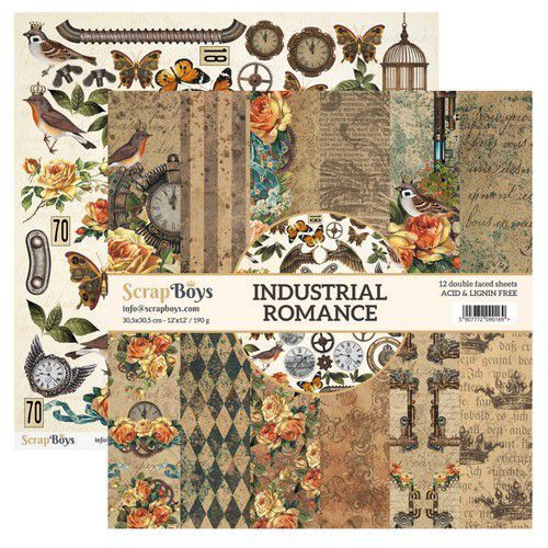 ScrapBoys Industrial Romance paperset 12 vl+cut out elements-DZ INRO-08 190gr 30,5cmx30,5cm (03-20)