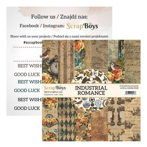 ScrapBoys Industrial Romance paperpad 24 vl+cut out elements-DZ   INRO-09 190gr 15,2cmx15,2cm (03-20