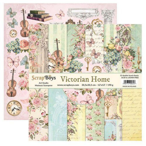 ScrapBoys Victorian Home paperset 12 vl+cut out elements-DZ VIHO-08 190gr 30,5cmx30,5cm (03-20)