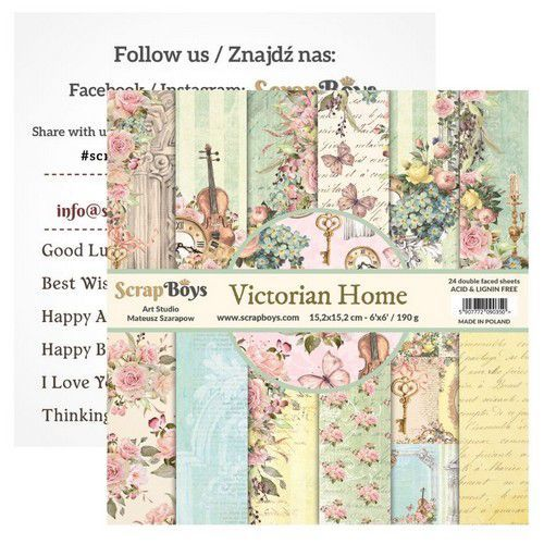 ScrapBoys Victorian Home paperpad 24 vl+cut out elements-DZ VIHO-09 190gr 15,2cmx15,2cm (03-20)
