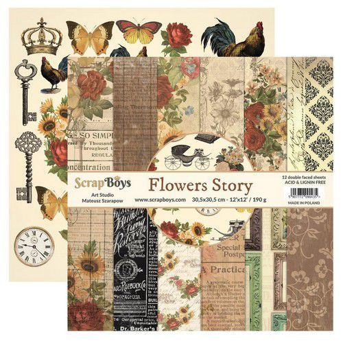 ScrapBoys Flowers Story paperset 12 vl+cut out elements-DZ FLST-08 190gr 30,5cmx30,5cm (03-20)
