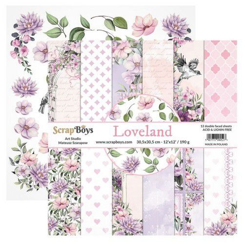 ScrapBoys Loveland paperset 12 vl+cut out elements-DZ LOLA-08 190gr 30,5cmx30,5cm (03-20)