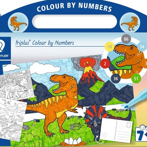 triplus mixed set colour by numbers Dinosaur