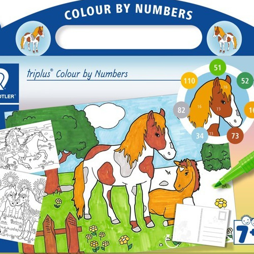 triplus mixed set colour by numbers Horses